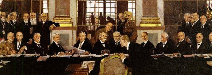 חתימת חוזה ורסאי, ציור של וויליאם אורפן, 1919