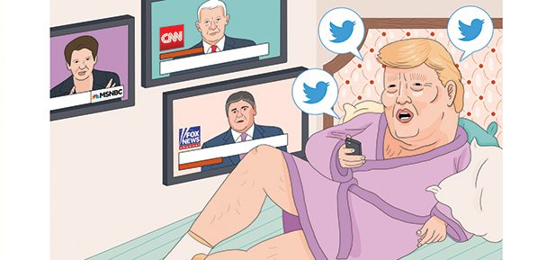 איור טראמפ צופה בטלוויזיה