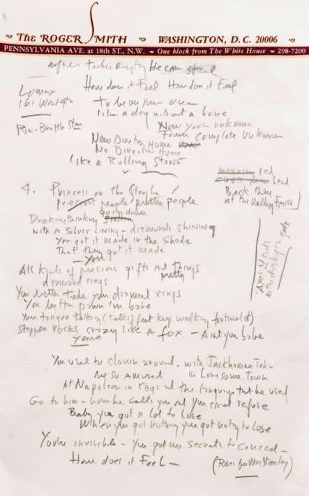 מילות השיר Like a rolling stone בכתב ידו של דילן