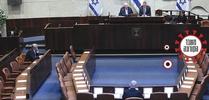 גנץ ונתניהו בהשבעת הכנסת. צילום: גדעון שרון, דוברות הכנסת