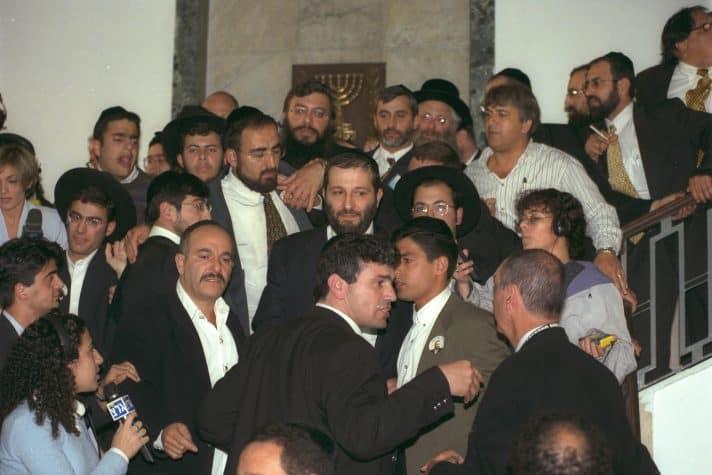 """אריה דרעי במשפטו 1999 // צילום: עמוס בן גרשום, לע""""מ"""