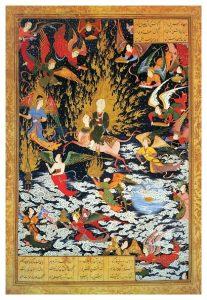 המסע הלילי של מוחמד אל ההר. איור פרסי מהמאה ה־ 16