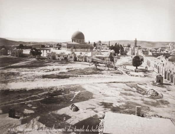 המיקום המשוער של המקדש הראשון על ההר. צילום מ־ 1870