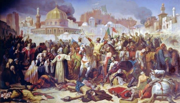 הכיבוש הצלבני, 1099 . ציור מאת אמיל סיגנול
