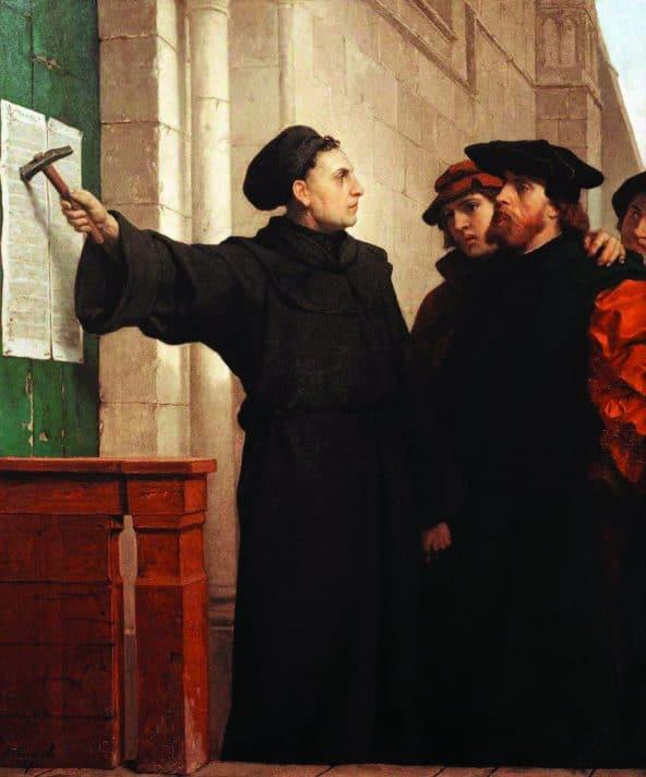 מרטין לותר תולה את דרישותיו על דלת הכנסיה // ציור נאת פרדיננד פאוולס