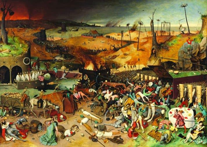 'נצחון המוות' (המגפה השחורה), 1562, ציור מאת פיטר ברויגל