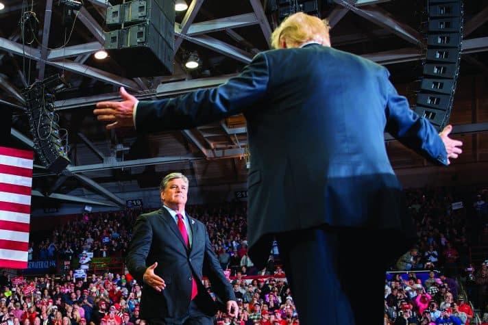 טראמפ עם שון האניטי באירוע בחירות // צילום: Jim Watson via Getty Images IL