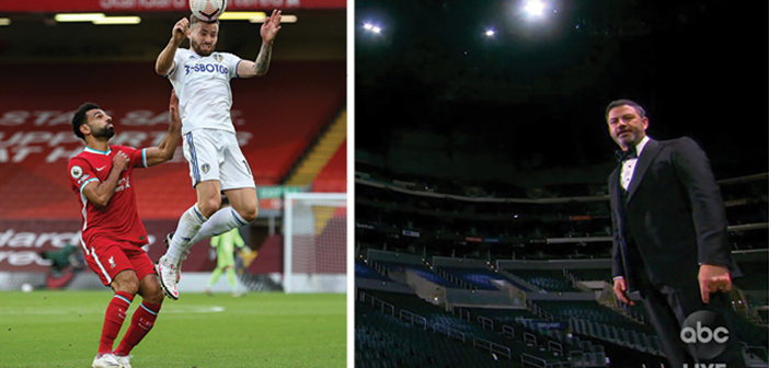 מימין: קימל בטקס האמי. משמאל: משחק בין ליברפול ללידס בליגה האנגלית, בחודש שעבר