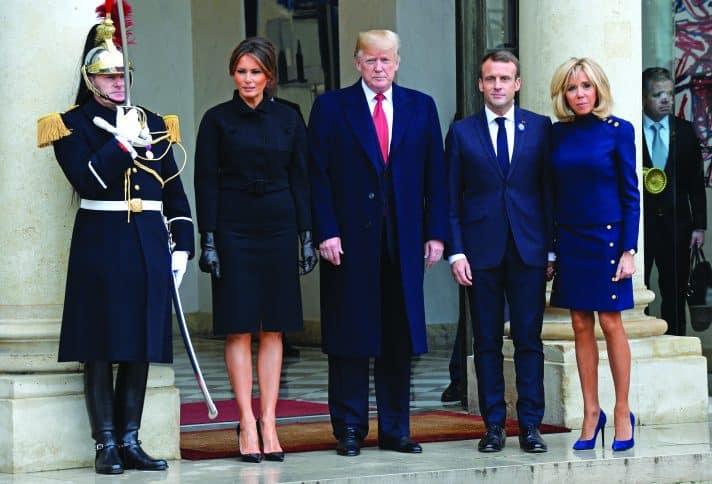 טראמפ מתארח בפריז אצל מקרון // צילום: John van Hasselt, Corbis via Getty Images IL