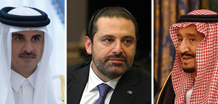 """משמאל לימין: תמים אל ת'אני, אמיר קטאר; סעיד ח'רירי, ר""""מ לבנון; סלמאן, מלך סעודיה"""