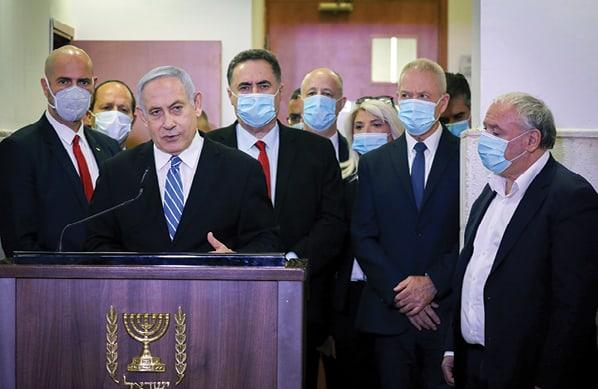 נתניהו ובכירי הליכוד בפתח משפטו צילוםYonathan Sindel, POOL, AFP via Getty Images IL