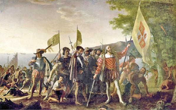 קולומבוס ומלחיו נוחתים באיי הודו המערבית - ציור ג׳ון ונדרלין