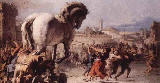 הסוס הטרויאני // ציור מאת ג'ובאני דומניקו טייפולו, 1773