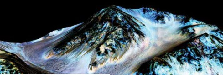 """פסים שחורים שנוצרו עקב זרימת מים עונתית במאדים // צילום: נאס""""א"""
