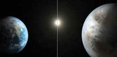 """התאומים. קפלר־452b וכדור הארץ // צילום: נאס""""א"""
