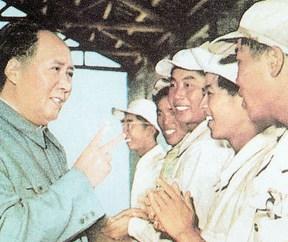 מאו דזה דונג עם פועלים, 1950