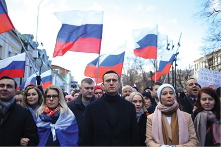 נבלני בהפגנה, 2020 צילום Kirill Kudryavtsev, AFP via Getty Images IL