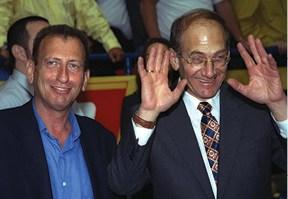 שני ראשי ערים. עם אולמרט, 1999 // צילום: אבי אוחיון, לע״מ