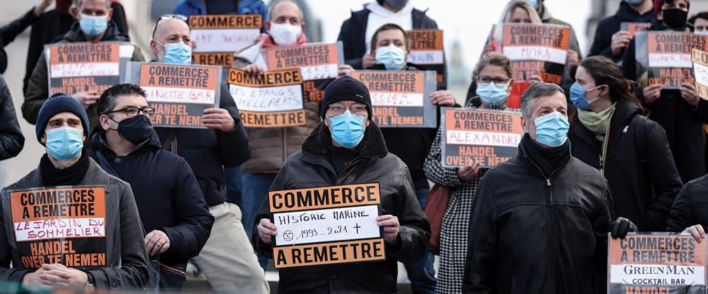 הפגנה של בעלי חנויות בבריסל במהלך המגפה צילום Kenzo Tribouillard, AFP via Getty Images IL