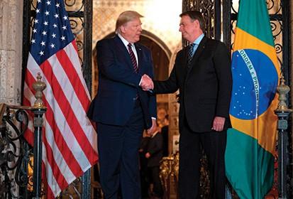 טראמפ ובולסונרו, 2019 צילום Jim Watson, AFP, Getty Images IL