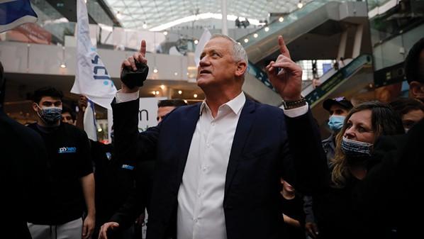 גנץ במהלך הקמפיין האחרון צילום הדס פרוש, ׳הארץ׳