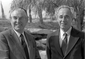 הרצוג עם שמעון פרס, 1984 צילום חנניה הרמן, לע מ