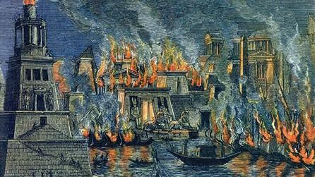 השריפה בספריית אלכסנדריה, 1876 ציור של הרמן גול
