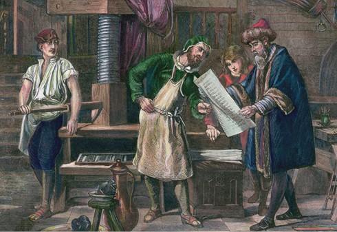 ציור המתעד את גוטנברג בבית המלאכה שלו