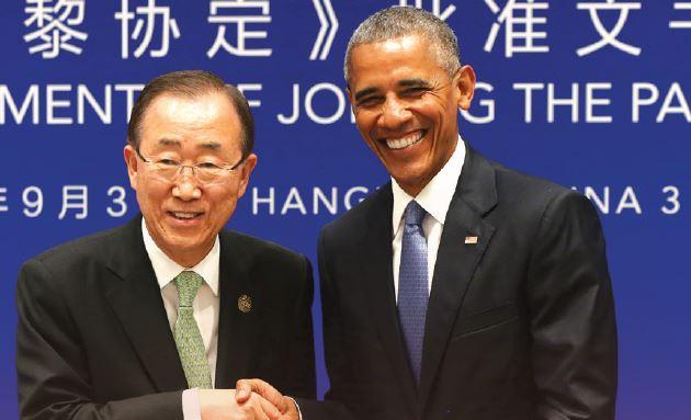 אובמה ובאן קי מון בחתימה על אמנת פריז, 2016 // צילום: How Hwee Young, AFP via Getty Images IL