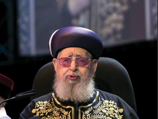 הרב עובדיה יוסף. ההדחה המשפילה הפכה מנוע לפעולה צילום אוליבייה פיטוסי, ׳הארץ׳