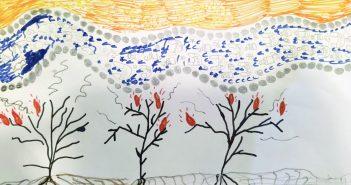 אמה, בת 9. נהר מלא בשקיות של שופרסל וסופרטוב ,בקבוקי פלסטיק ויער שרוף